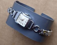 Ladies vintage chrome Lancyl watch, running order, stretching strap, overall