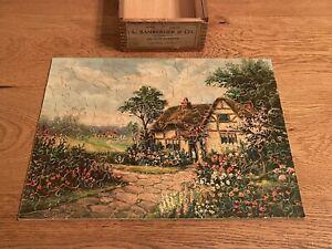 """Vintage L Bamberger & Co Newark NJ """"Cottage Garden"""" Floral Jigsaw Figural Puzzle"""