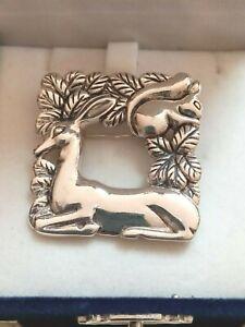 Georg Jensen Style Denmark Danish Sterling Silver Deer Doe Squirrel Brooch Pin