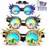 Full Retro Kaleidoscope Rivet Punk Rave Glasses Goggles Steampunk Crystal Glass