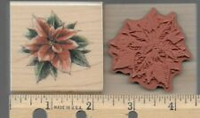 Inkadinkado rubber stamp Poinsettia wood mounted, Christmas