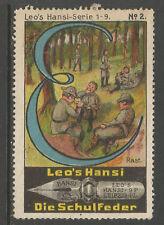 ALLEMAGNE/Leipzig Leo's HANSI schulfeder Publicité TIMBRE/LABEL (Boy Scouts #2)