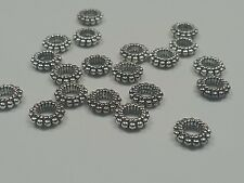 20 Tibetan Style Donut Beads, Lead Free, Antique Silver, 8x2mm, Hole: 3mm