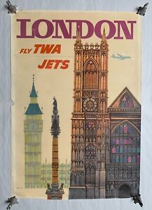 Vtg David Klein London Fly TWA Jets England Travel Airlines Poster (A20)