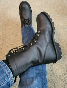 Men's Black Leather Red Wing Motorcycle Logger Work Lace Up Boots 12 EE  RARE