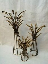 Set 3 Tall Wheat Rustic Fall Harvest Pillar Candle Holders Candlesticks NICE