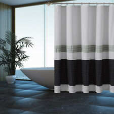 Fabric Shower Curtain: Gray with Pleated Silver and Black Pintuck Stripes
