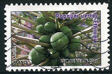 TIMBRE FRANCE AUTOADHESIF OBLITERE N° 692 / FLORE / FRUIT / PAPAYES VERTES