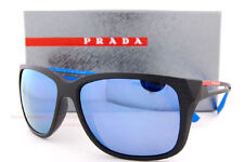 Brand New Prada Sport Sunglasses PS 03TS 1BO 2E0 Matte Black/Blue Mirror MEN