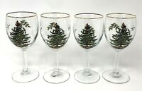Set Of 4 SPODE Christmas Tree Stemmed Wine Glasses W/ Gold Rim