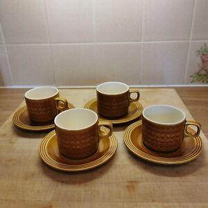 Vintage Hornsea Saffron Coffee Cups & Saucers x4