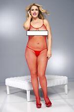 Plus Size Red Fishnet Bodystocking Pantyhose BRIDAL MESH LEG AVENUE Body