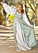 2 PC RENAISSANCE DRESS COSTUME All sizes Baby Blue Empire Dress & Satin Chemise
