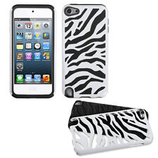 For iPod Touch 5 5th G Hybrid Zebra Fusion Silicone Case Phone Cover White Black
