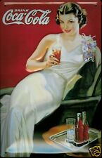 Coca Cola Night Out Lady Blechschild Tin Sign 3D geprägt gewölbt 20 x 30 cm