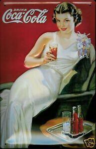 Coca Cola Night Out Lady Blechschild Tin Sign 3D geprägt gewölbt 20 x 30 cm