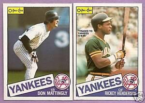 1985 OPC O-PEE-CHEE New York Yankees Team Set