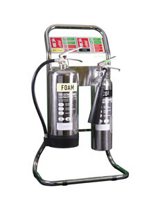 NEW DOUBLE TUBULAR FIRE EXTINGUISHER STAND - CHROME