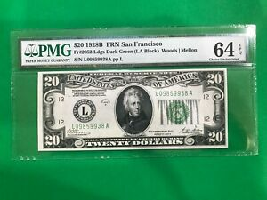$20 1928B FEDERAL RESERVE NOTE PMG 64 EPQ CHOICE UNC FR 2052-L 1928 DARK GREEN