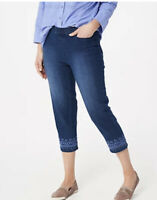 """Denim & Co. Perfect Denim Pull-On Crop Jeans with Embroidery-Indigo Wash 30"""""""