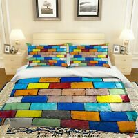 3D Color Brick Graffiti Quilt Cover Set Pillowcases Duvet Cover 3pcs Bedding