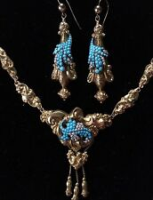 ANTIQUE VICTORIAN 15ct GOLD TURQUOISE PEARL NECKLACE AND EARRINGS PARURE 1875.