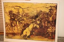 Mid Century Mod Wood Block Print -  Knights in Battle Helen Schoenheilder 10/15