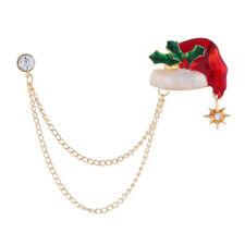 Brooch Badge Corsage Jewelry AccessoOdca Enamel Crystal Tassels Christmas Hat