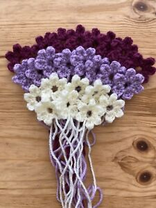 Pack of 24 Purples & Cream Crochet Flowers (Small - 3cm) - Crafts Embellishments