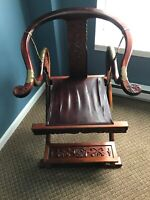 Antique Wide Wooden Chair With Leather Seat