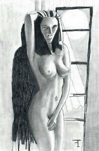 Dessin de nu original sur papier aux crayons - signé - Artiste  FLAVIEN COUCHE