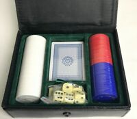 Vintage Poker Chip/ Cards And Sice Set In Black Leather Case Gambling Card Games
