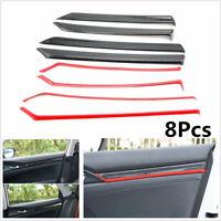 8Pcs Red Carbon Fiber Style Interior Door Trim Decals Cover For Honda Civic 10th