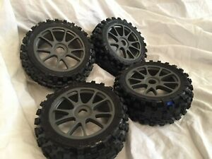 KYOSHO INFERNO NEO 3, NEO 2, MP7.5, 4 x GREY WHEELS + TYRES, 17mm HEX 8TH SCALE