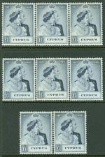 EDW1949SELL : CYPRUS 1948 Scott #159 Silver Wedding 8 stamps VF, MOG Cat