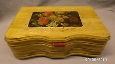 2380M Antique Cedar Jewelry Chest/Box Curved Front 12x8x4 Floral Scene Hinge Lid