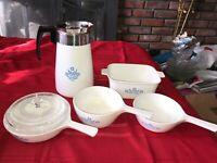 5 pc CORNING WARE BLUE CORNFLOWER 9 Cup Coffee Pot Skillet Sauce Pan Baking Dish