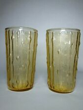 Set of 2, Vintage Yellow Drinking Glasses Pale Yellow Bamboo pattern