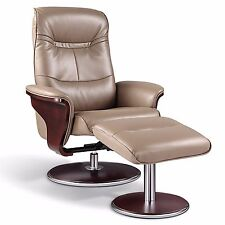 Milano Leather Swivel Recliner and Ottoman, Latte