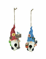 Set of 2 Red & Blue Hat Gnome Hanging Bird Houses Decorative Garden Statue Decor