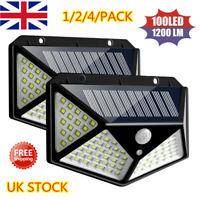 100 LED Solar Power PIR Motion Sensor Wall Lights Outdoor Garden Security Lamps*