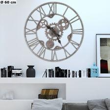 Retro Wand Uhr grau silber römische Ziffern Zahnrad Zeit Anzeige analog D 60 cm