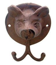 PINK CAST IRON PIG HEAD WALL HOOK 5 1/2 INCH