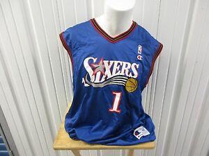 VINTAGE CHAMPION NBA PHILADELPHIA 76ERS KOSA #1 XL / 48 BLUE JERSEY PRE OWNED