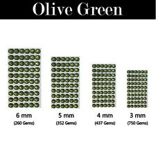 Round Decorative Diamante Crystal Sticky Rhinestone Gems in 4 Sizes & 21 Colours Olive Green 5 Mm (352 Gems)
