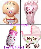 New Baby Shower Foil Helium Balloons Set Pink Girl Pram Bottle Foot Large XL