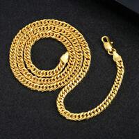 18K Gold Plated Women Men Cuban Hiphop Link Chain Choker Necklace Jewelry 4MM