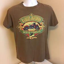 Vtg Harley Davidson 1990 3D Mens Brown T-Shirt Rockville MD Medium Free Shipping