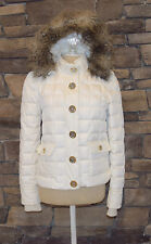 Juicy Couture White Puffer Gold Button Removable Fur Hooded Jacket P Worn Once