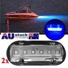 AU!! 2x Stainless Steel 6 LED Blue Underwater Pontoon Marine/Boat Transom Lights